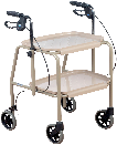 An All Terrain Mobility -trolley walker. With two removable trays, height adjustable handles and breaks.