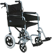 An All Terrain Mobility Light Weight Aluminum transit wheelchair.  In metalic blue, with a padded black seat and breaks on the handles.