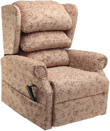 An All Terrain Mobility 'tilt in space' rise and recline' chair. An extremly comfortable 'arm chair' style rise & recline chair with a waterfall back pictured in cream but available in a variety of fabric choices.