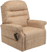 An All Terrain Mobiltiy single motor cosi-chair rise and recline chair. Pictured in cream a very comfortable 'arm-chair style' rise and recline chair available in a range of colours.