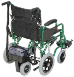 An All Terrain Mobility 'power stroll'. A small removable motor that attaches to the back of the wheelchair and pushes the wheelchair for you!