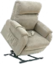 An All Terrain Mobility Petite Rise and Recline Chair. A small, compact rise & recline chair ideal for small people / spaces.  Pictured in a plush but hard wearing oatmeal/ cream coloured fabric but available in brown, dark red, green and blue.