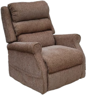 An All Terrain Mobility 'Kingsley' rise and recline chair. Pictured here in brown with a waterfall back . Available as a dual or single motor rise & recline chair. Available in two different sizes and a range of colours.