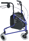 An All Terrain Mobility  - three wheeled walking frame in light-weight aluminum.  Folds for easy transportation, is height adjustable and comes with a bag. Pictured in blue but availaible in a vatiety of colours.