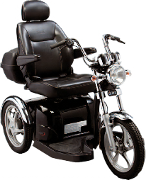 The ATM Easy Rider Mobility Scooter.  A large three wheeled black and chrome 'Harley Davidson' style mobility scooter.  Comes with motorbile suspension, wind sheild, luxurious captain seat and lockable back box.