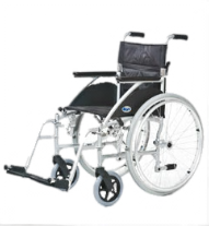 An All Terrain Mobility light weight aluminum wheelchair. Available in a number of seat widths and self-propelled or transit.