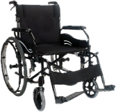An All Terrain Mobility Wren 2  light weight, aluminum self propelled wheelchair.  This is a stylish looking wheelchair in black with large wheels.