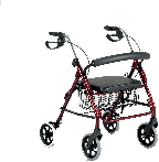 An All Terrain Mobility 4 wheeled rollator. In light weight aluminum and folds for ease of transportation.  Comes with a seat, bag, breaks and is height adjustable.  Pictured in red but available in a variety of colours and styles.