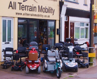 A selection of All Terrain Mobility's reconditioned mobility scooters on display outside our shop!